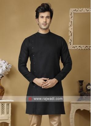 Linen Fabric Kurta In Black
