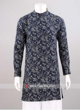 Cotton Silk Fabric Kurta In Navy Color