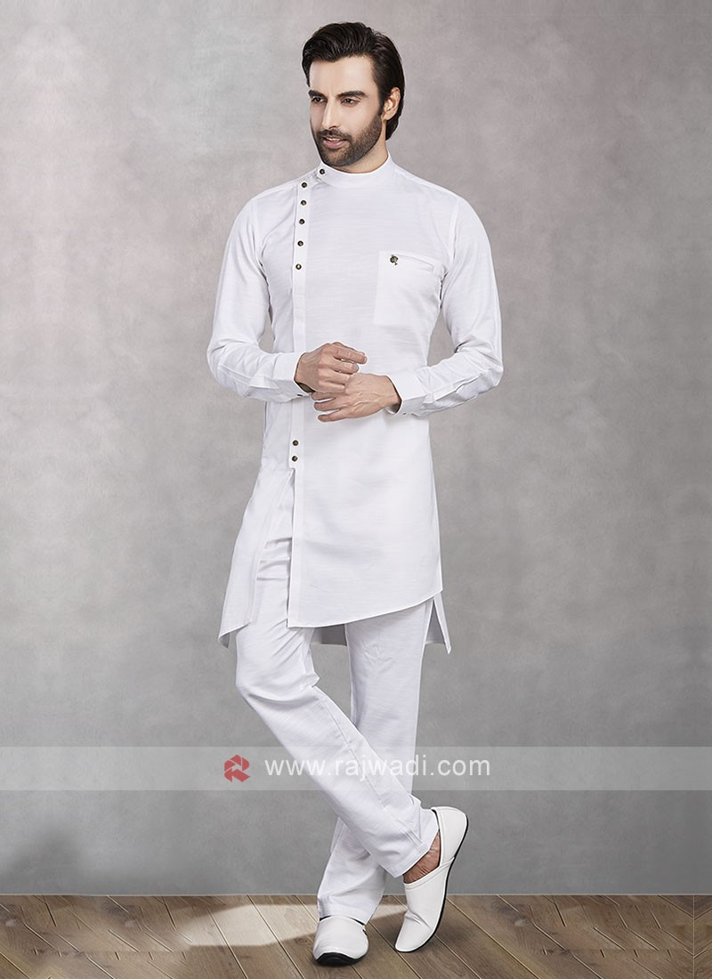 Cotton Silk Fabric Kurta Pajama For Mens