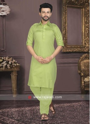 Cotton Silk Fabric Mens Pathani Set
