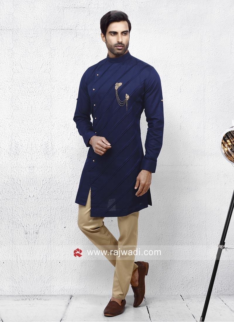 Cotton Silk Fabric Mens Pathani Set
