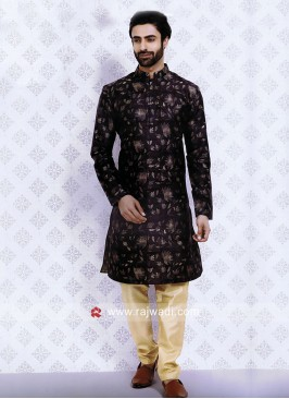 Art Silk Fabric Navy Kurta Pajama