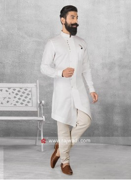 Linen Fabric White Pathani Set