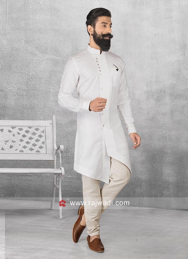 Linen Fabric White Pathani Set