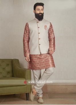 Cotton Silk fabric Party wear Nehru Jacket