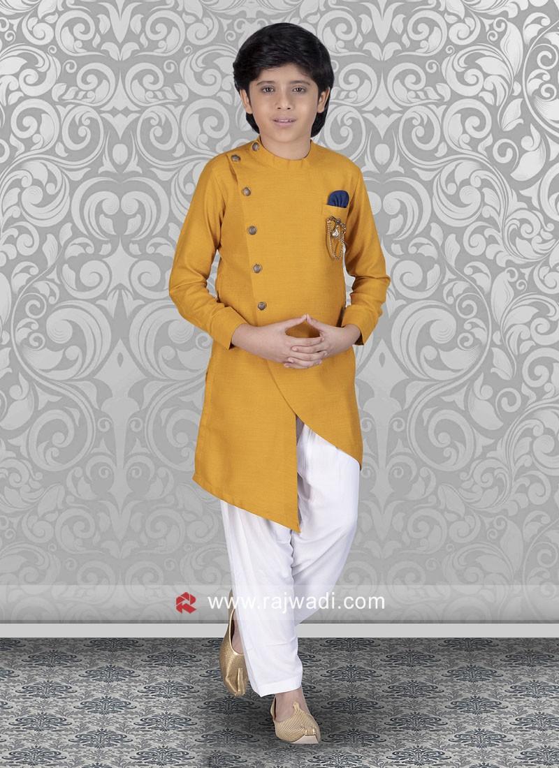 Cotton Silk Fabric Pathani For Kids
