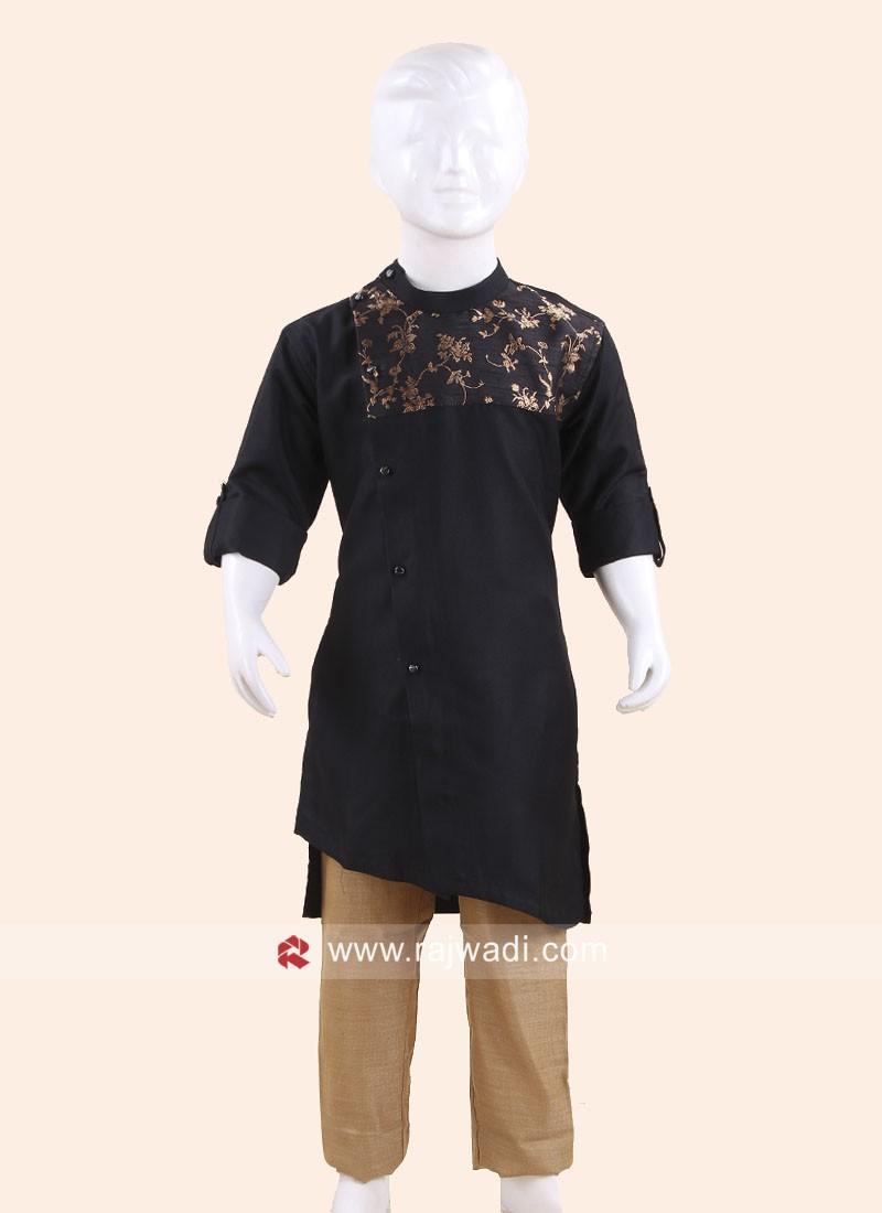 Cotton Silk Fabric Pathani Set