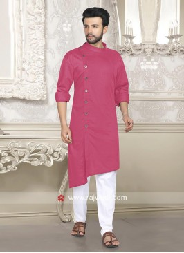 Cotton Silk Fabric Pathani Set In Pink Color
