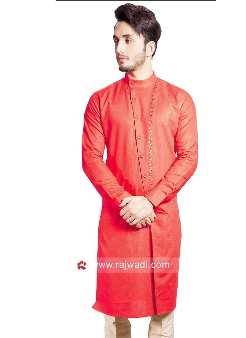 Round Neck Orange Pathani Set