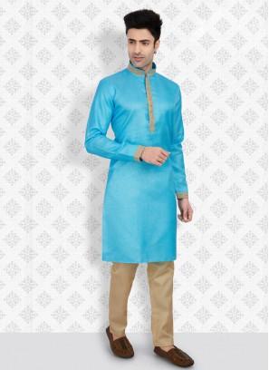 Cotton Silk Firozi And Golden Color Kurta Pajama
