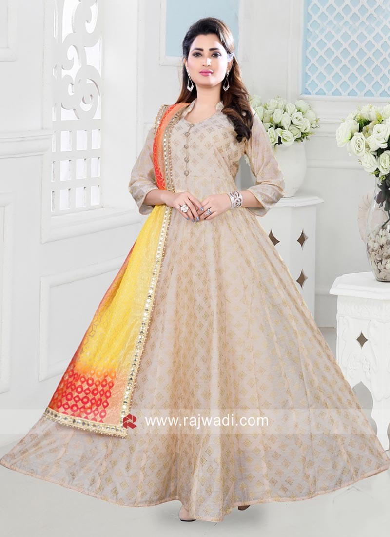 Cotton Silk Floor Length Anarkali Dress