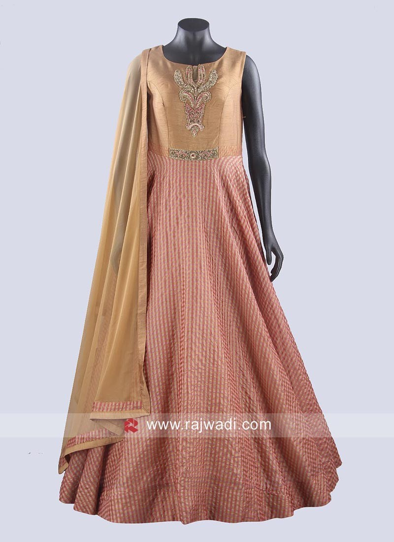 Cotton Silk Floor Length Anarkali Dress