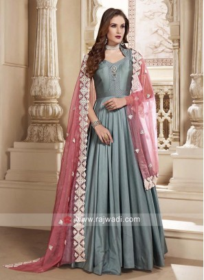 Cotton Silk Floor Length Anarkali Salwar Suit