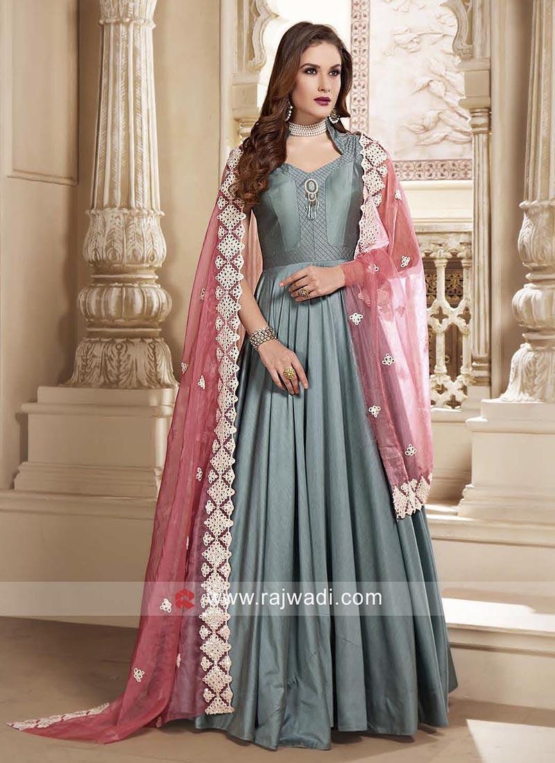 Cotton Silk Floor Length Anarkali Salwar Suit