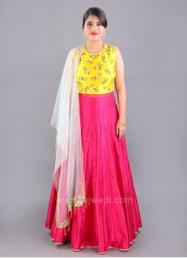 Cotton Silk Floral Embroidered Floor Length Anarkali Suit