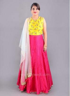 Cotton Silk Floral Embroidered Floor Length Anarkali Suit