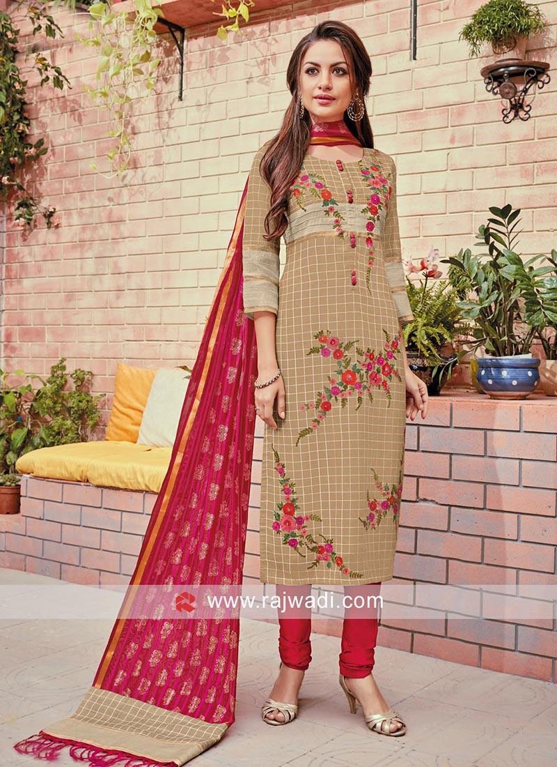 Cotton Silk Floral Embroidered Salwar Suit