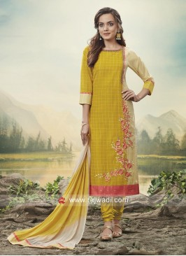 Cotton Silk Flower Embroidery Suit