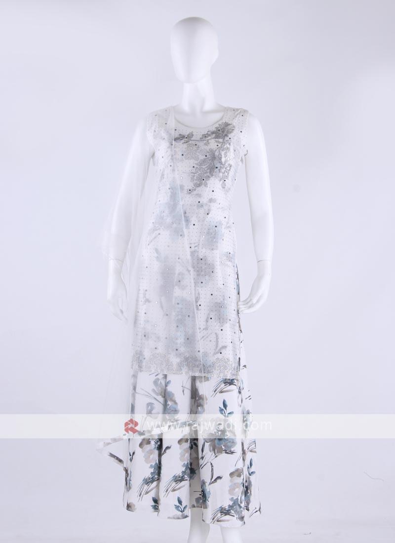 cotton silk flower print anarkali suit