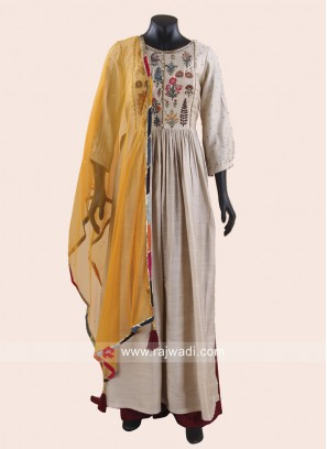Cotton Silk Flower Work Palazzo Suit