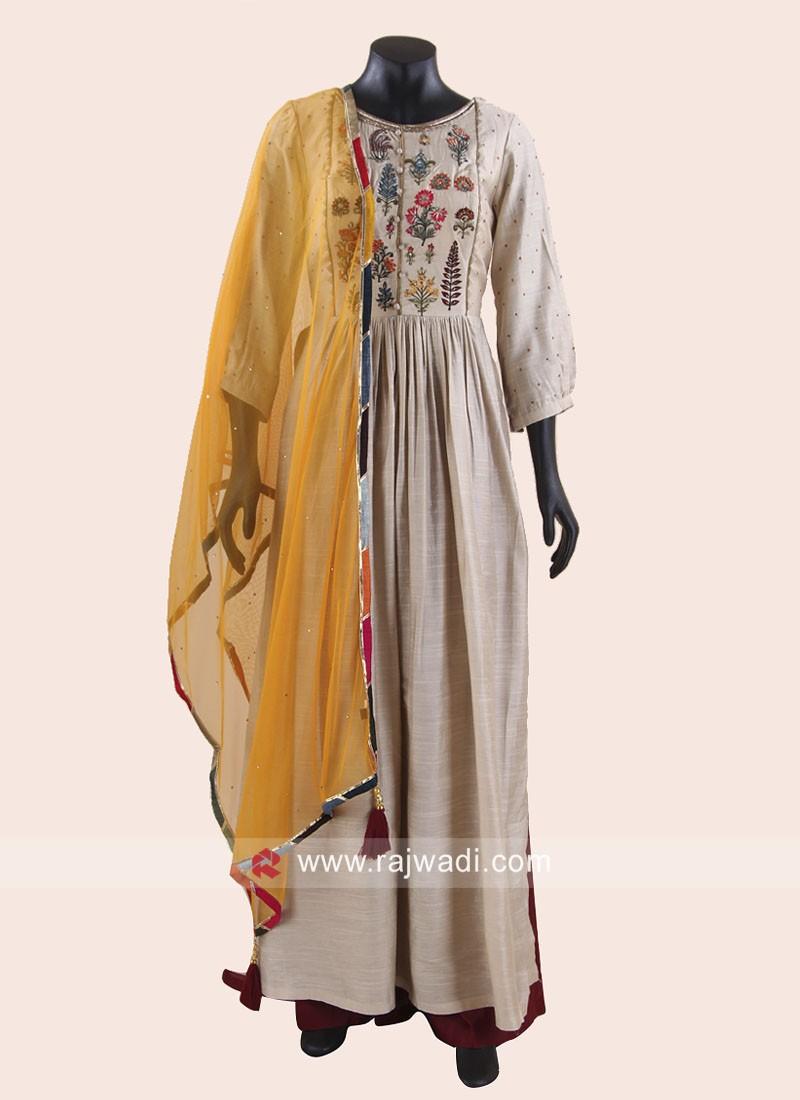 Cotton Silk Flower Work Palazzo Suit