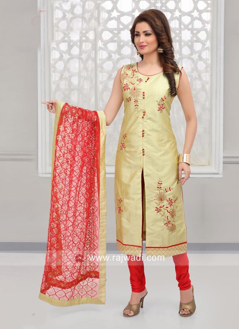 Cotton Silk Front Slit Churidar Suit