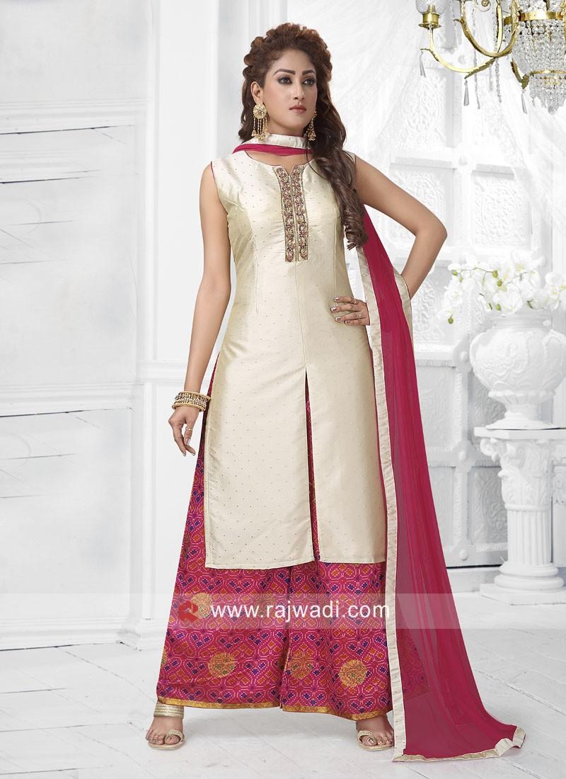 Cotton Silk Front Slit Palazzo Suit