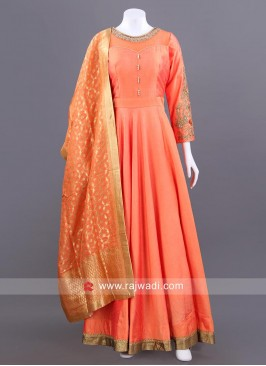 Cotton Silk Full Length Anarkali in Peach