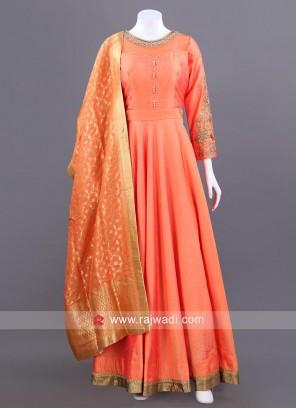 Cotton Silk Full Length Anarkali in Peach