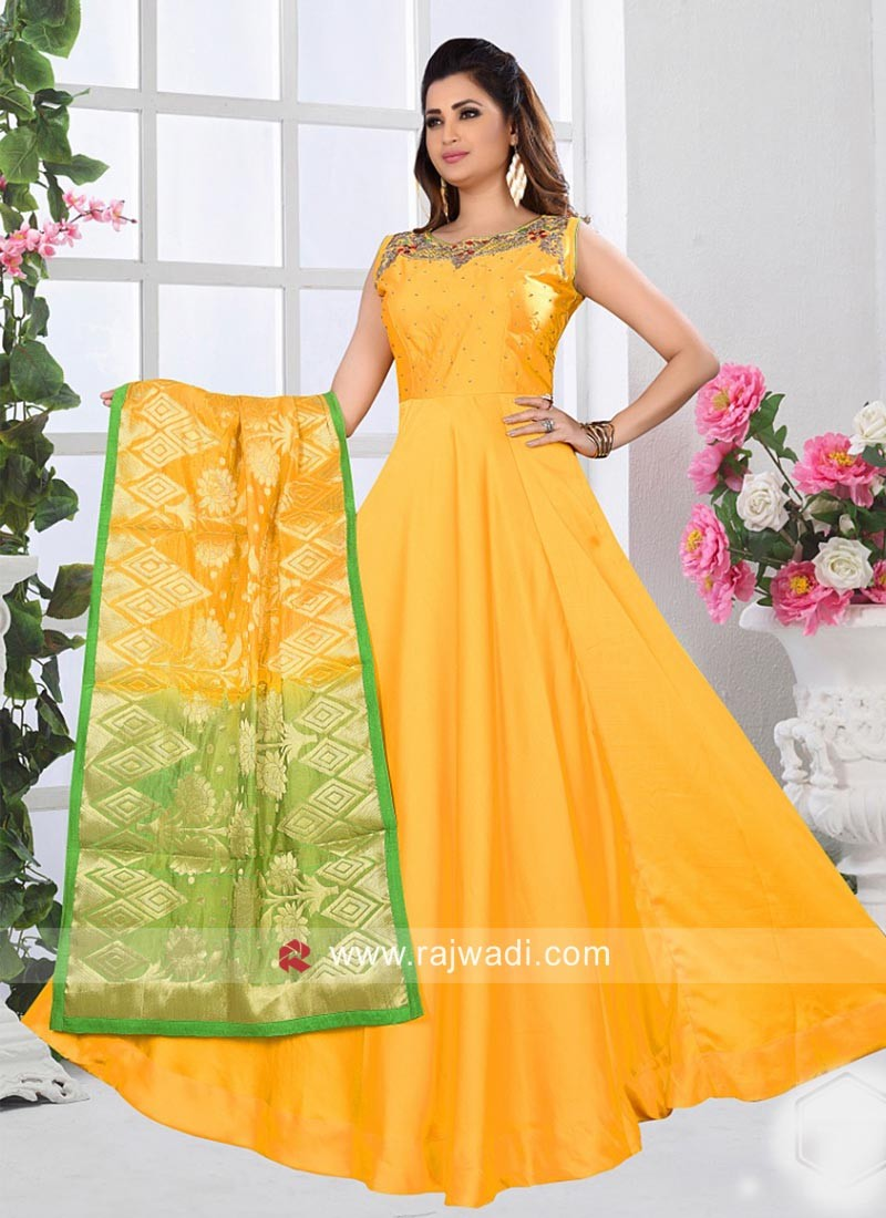 Yellow Full Length Anarkali with Shaded Dupatta