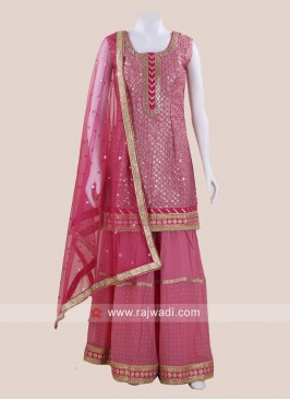 Cotton Silk Gharara Suit in Hot Pink