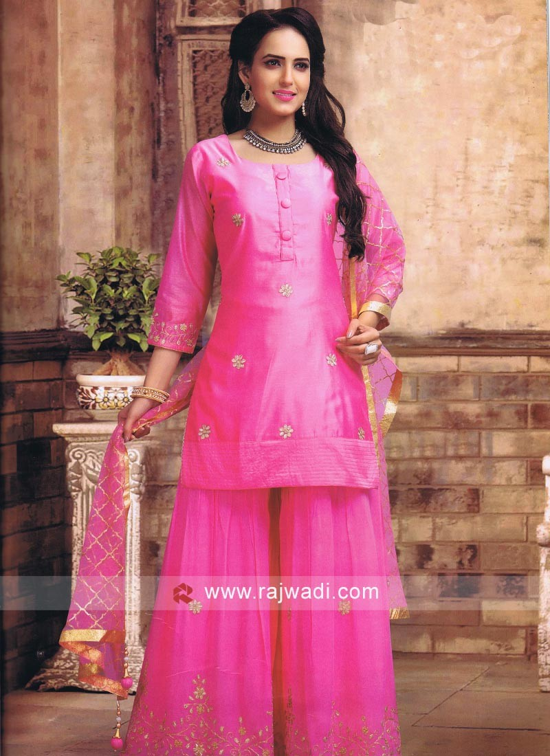 Cotton Silk Gharara Suit in Pink