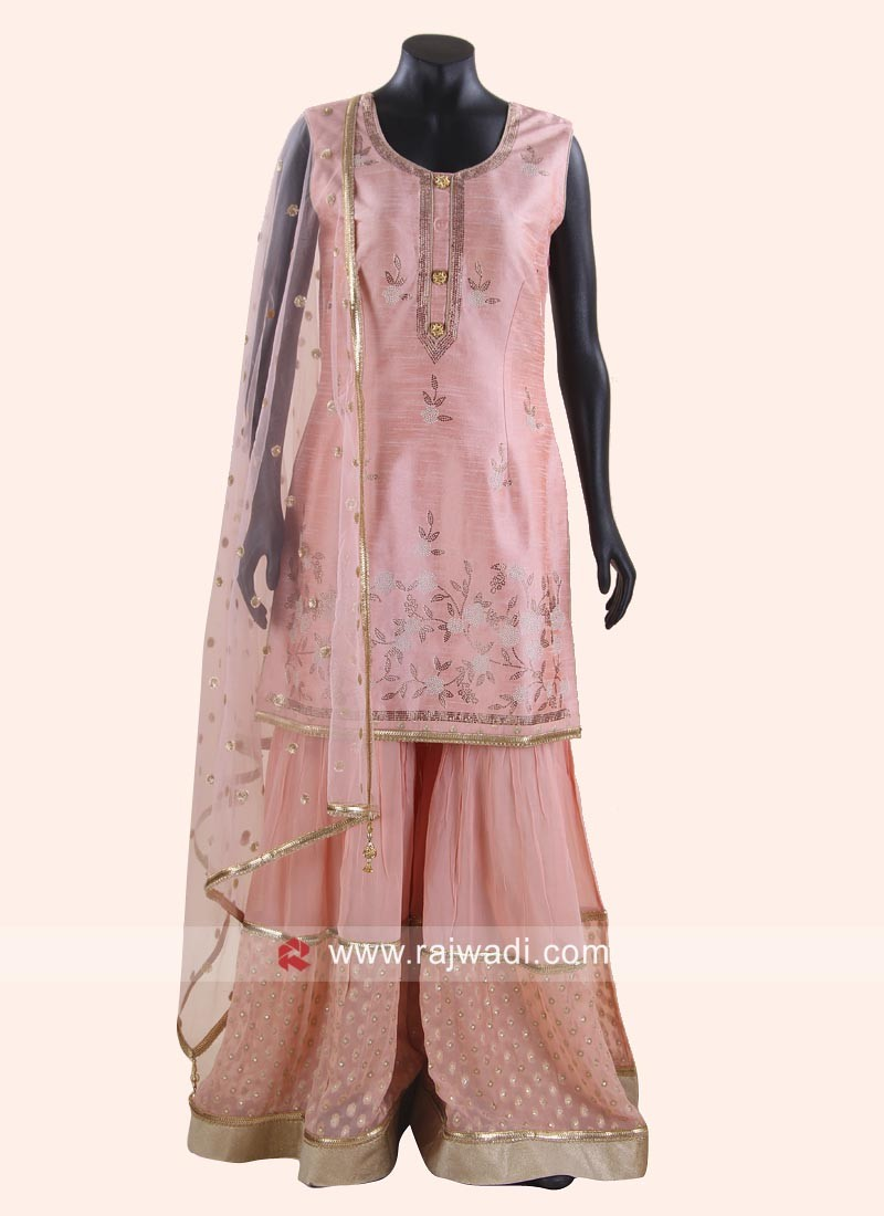 Cotton Silk Gharara Suit with Dupatta