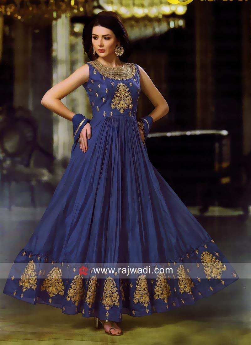 Cotton Silk Golden Work Anarkali Suit