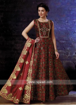 Cotton Silk Gota Patti Work Anarkali Suit