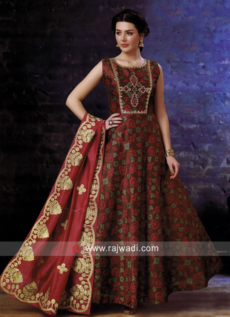 Cotton Silk Gota Patti Work Anarkali Suit