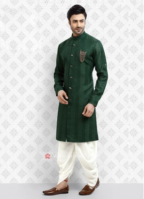 Cotton Silk Green Dhoti Suit