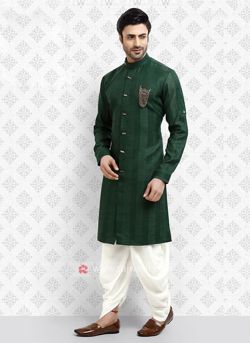 Cotton Silk Green Dhoti Suit