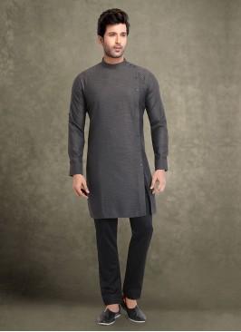 Cotton Silk Grey Color Kurta Pajama