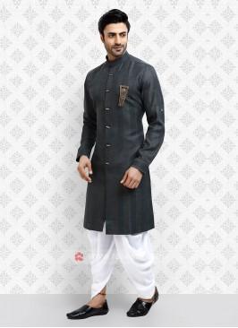 Cotton Silk Grey Dhoti Suit