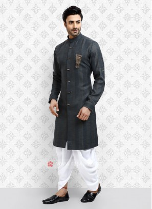 Cotton Silk Grey Dhoti Suit