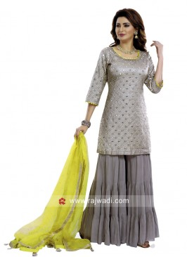 Cotton Silk Grey Gharara Suit with Dupatta
