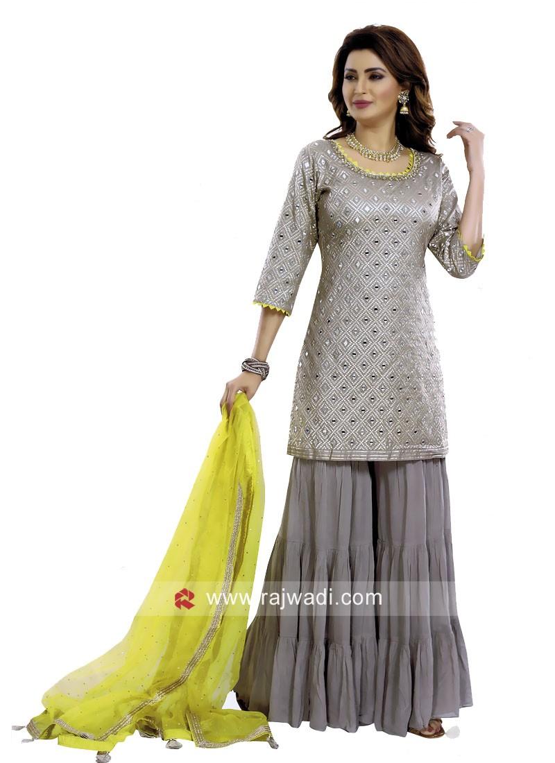 Cotton Silk Grey Gharara Suit with Dupatta