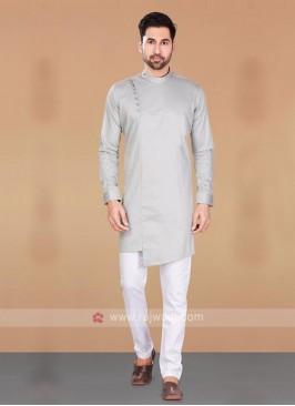Grey & White Cotton Silk Kurta Pajama