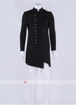 Cotton silk indo-western in black color