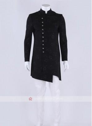 Cotton silk indo-western in black color
