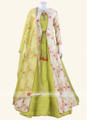 Cotton Silk Jacket Style Anarkali Suit