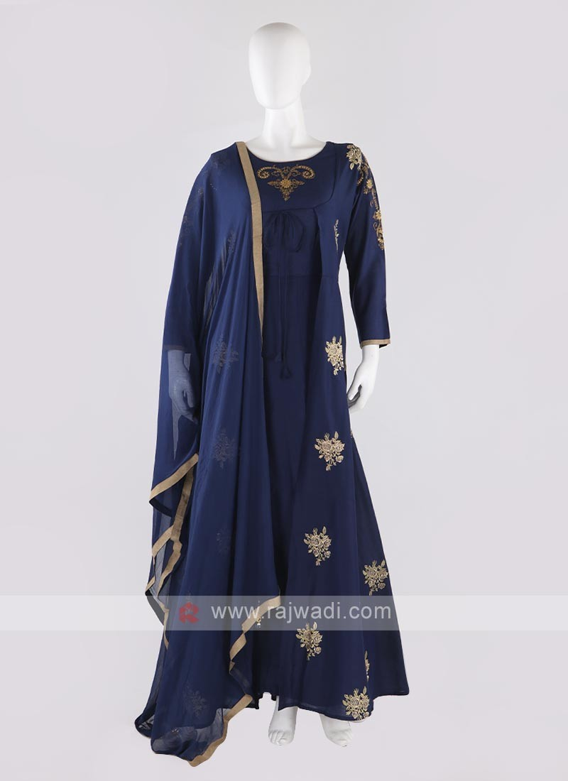 cotton silk jacket style anarkali suit in blue