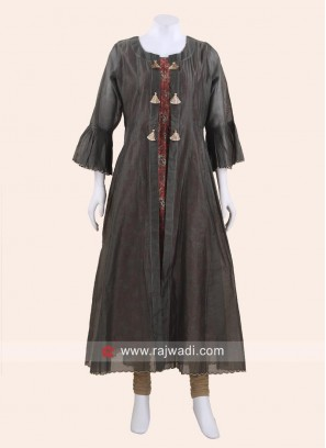 Cotton Silk Jacket Style Kurti