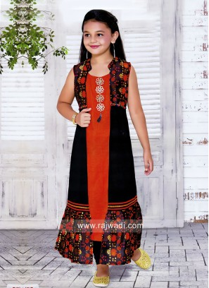 Cotton Silk Jacket Style Suit for Girls